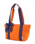 Quilted Solid End Pockets Tote Bag